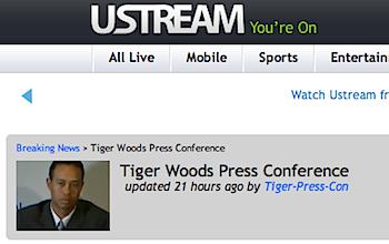 タイガー・ウッズのUstream記者会見、視聴者は683,000人
