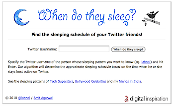 ツイッターIDから睡眠時間を推測してくれる「SleepingTime.org」