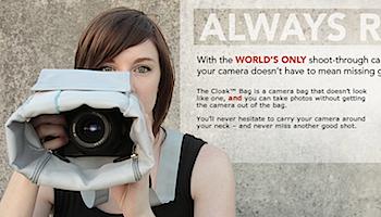撮り出さずに撮影できる一眼レフ用カメラバッグ「Cloak Bag」
