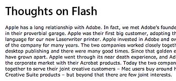 「Thoughts on Flash」スティーブ・ジョブズが語るFlashを採用しない6つの理由