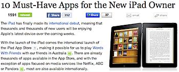 Mashableによるインストールすべき「iPad」アプリ10本