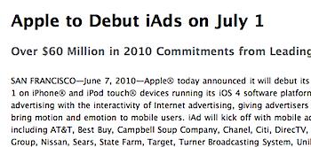 Appleのモバイル広告ネットワーク「iAd」7月1日より開始