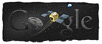 Googleロゴ「はやぶさ(探査機)」に
