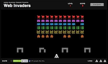 Adobe Business Catalystプレゼンツ、ウェブで遊べるインベーダーゲーム「Web Invaders」