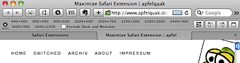 ウィンドウサイズを固定サイズでリサイズするSafari機能拡張「Maximize」