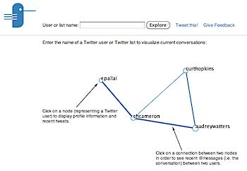 ツイッターのユーザー同士の繋がりを可視化する「@talkexplorer」