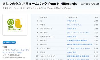 童謡が115曲で800円「きせつのうた ボリュームパック from HiHiRecords」