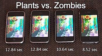iPhone 2G/3G/3GS/4の速度比較をしている動画