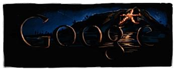 Googleロゴ「五山送り火」に