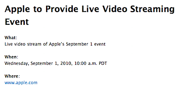 AppleのスペシャルイベントはAppleによるライブストリーミングあり