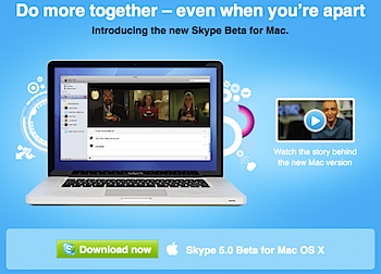 「Skype 5.0 Beta for Mac OS X」リリース