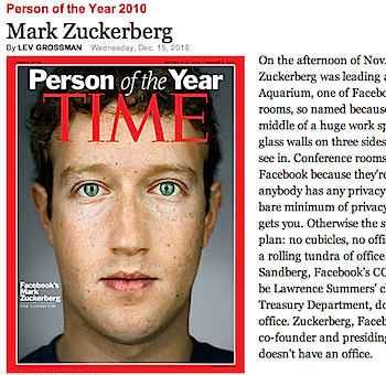TIME誌「Person of the Year 2010」はマーク・ザッカーバーグ(Facebook創業者)