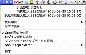 「TepcoMeter for Mac(非公式)」東京電力の電力使用状況をMacのメニューバーに表示