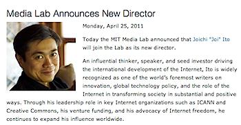 伊藤穣一、MITメディアラボの所長に就任