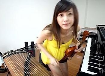 台湾のキレイなお姉さんによる「一人女子十二楽坊」的な動画