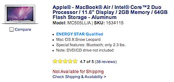 「MacBook Air」Best Buyで在庫がなくなる → 新しいモデル登場のサイン!?