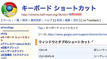 Google Chromeのキーボードショートカット
