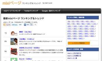 ユーザーローカル、mixiページのランキングサイトを開設