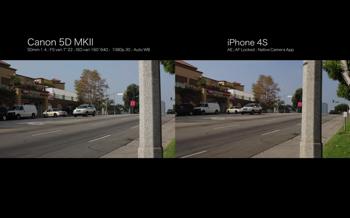 「Canon 5D MKII」と「iPhone 4S」で同じ景色を撮影して比較した動画