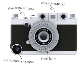 クラシックカメラのようなiPhoneケース「GIZMON iCa」