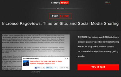 「SimpleReach」記事を読み終わる頃にオススメ記事をするするっと表示