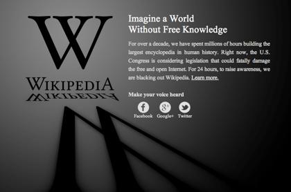 SOPAに抗議でWikipediaがブラックアウト
