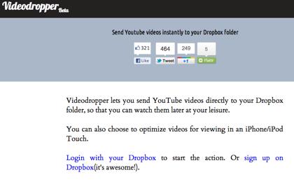 YouTubeの動画をDropboxにダウンロード「Videodropper」