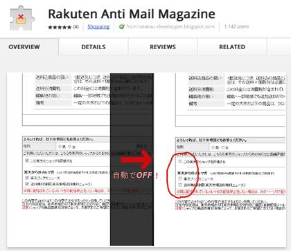 楽天のメルマガ受信チェックボックスを自動でオフするGoogle Chrome機能拡張「Rakuten Anti Mail Magazine」