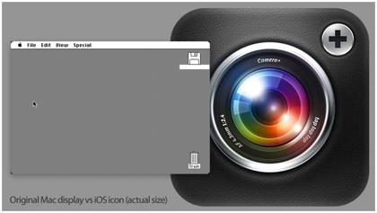 新しい「iPad」と初代Macintoshの解像度を比較した画像