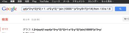【なんじゃこりゃー!!】Googleで「1.2+(sqrt(1-(sqrt(x^2+y^2))^2) + 1 - x^2-y^2) * (sin (10000 * (x*3+y/5+7))+1/4) from -1.6 to 1.6」検索したらグラフが表示された