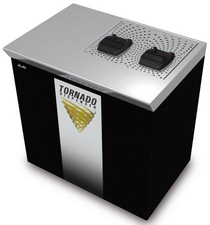 「トルネード」カップの下から注ぎ入れるビールサーバ