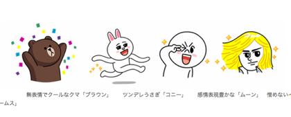 「LINE」スタンプのキャラクター:クマ→ブラウン:うさぎ→コニー:丸顔→ムーン:イケメン→ジェームス