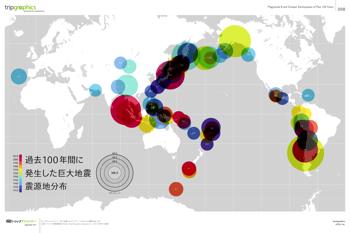 マグニチュード8以上の巨大地震の震源地を地図上にプロットしたインフォグラフィック