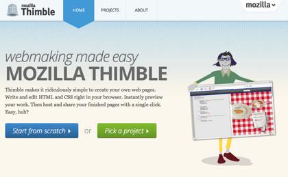 ウェブブラウザでHTMLコーディングできるMozillaのプロジェクト「Thimble」