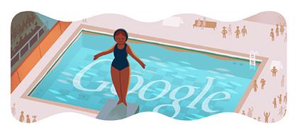 Googleロゴ「飛び込み(London 2012 diving)」に