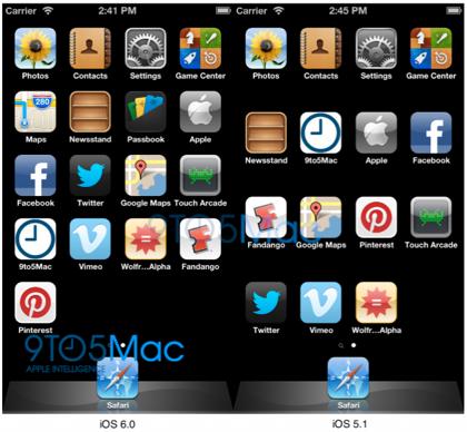 【iOS 6】iPhoneの640 x 1136表示対応を確認 → アイコンの5行表示が可能に