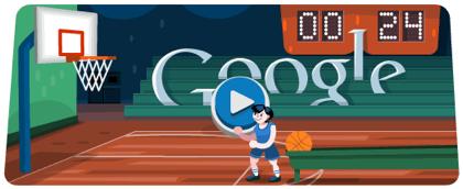 Googleロゴ「バスケットボール(London 2012 basketball)」に(シュートして遊べる!)