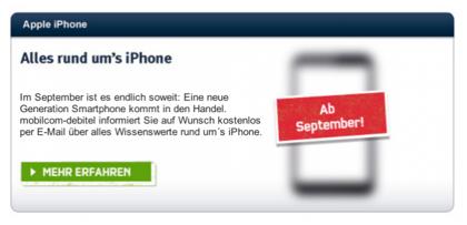 ドイツのキャリアが「新しいiPhoneは9月に発売」とアナウンス