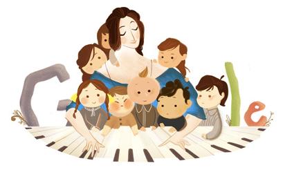 Googleロゴ「クララ シューマン」に