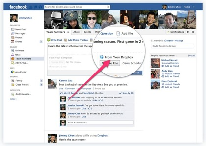 Facebookグループ、Dropboxでのファイル共有が可能に
