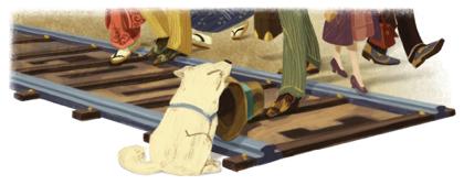 Googleロゴ「ハチ公」に