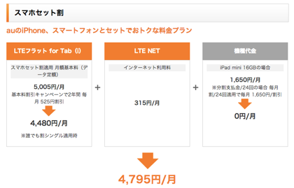 au「iPad mini with Wi-Fi + Cellular」料金プランを発表