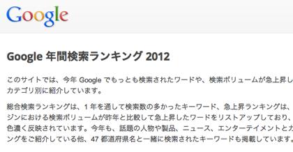 「Google 年間検索ランキング 2012」1位はあのサイト!?
