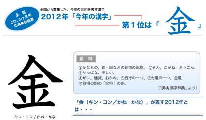 今年の漢字は「金」(2012年)