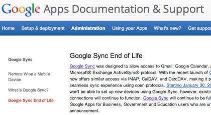 "Googleが""冬の大掃除""「Google Sync」終了へ"