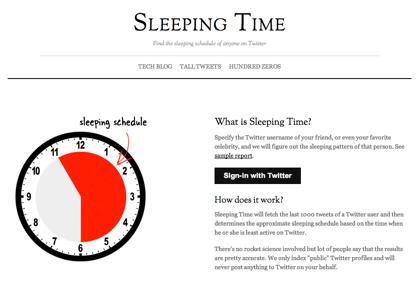 Twitterのツイートからいつ寝ているかが分かる「Sleeping Time」