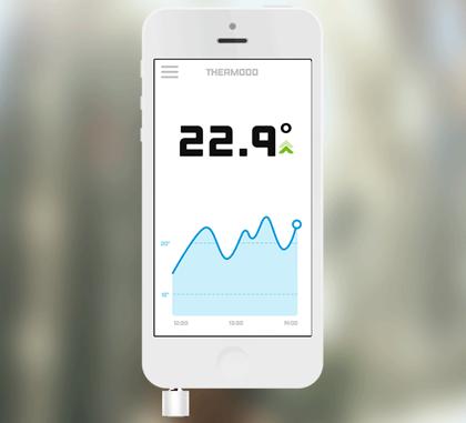 「Thermodo」イヤフォンジャックに挿入しiPhoneを温度計に