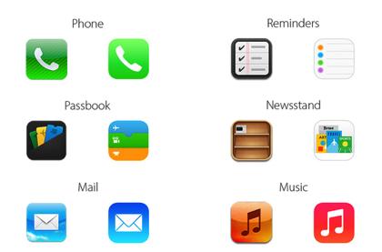 【iOS 7】「iOS 6」とアイコンを比較した画像 → 並べると変化が分かりやすい!