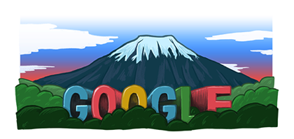 Googleロゴ「富士山」に