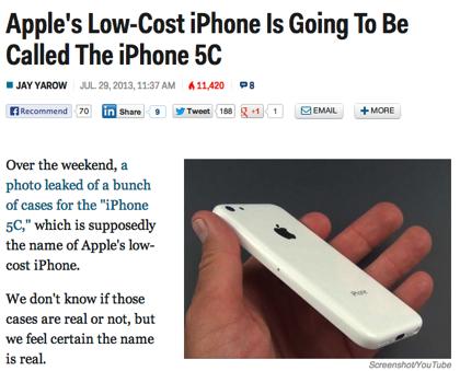 廉価版iPhoneの正式名称は「iPhone 5C」か?